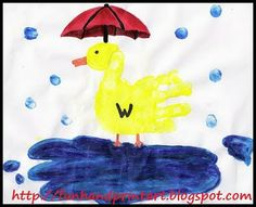This Handprint Duck is easy to make. Place a yellow handprint in the center of the page. Next, paint a yellow head at the end of the thumb. Draw in the rest of the details after it has dried.