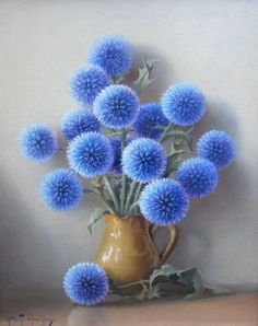 If you think the decoration of your house is insipid and ordinary, our Cross Stitch Diamond Painting Kits can help you to make your drawing room, bedroom and other places become vivifying. Art Floral, Deco Floral, Floral Drawing, Embroidery Kits, Beaded Embroidery, Blue Dream, My Favorite Color, Blue Flowers, Real Flowers