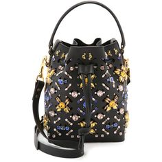 Sophie Hulme Embellished Bucket Bag (16,510 EGP) ❤ liked on Polyvore featuring bags, handbags, shoulder bags, black, black shoulder bag, black leather shoulder bag, genuine leather handbags, black leather purse et leather handbags