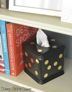 Honey We're Home: DIY gold sequin polka dot tissue box