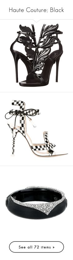 """Haute Couture; Black"" by judymjohnson ❤ liked on Polyvore featuring shoes, sandals, heels, high heels, black, black ankle strap sandals, ankle strap high heel sandals, heeled sandals, high heel platform sandals and black t strap sandals"