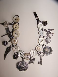 LOVE Vintage Button Bracelet Altered Charm Bracelet Antique by QueenBe
