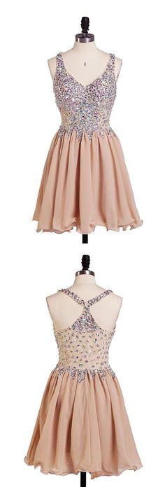 Champagne homecoming dress, off shoulder homecoming dress, v-neck homecoming dress