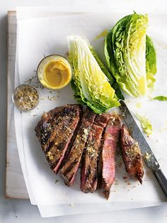 // mustard, thyme and cayenne grilled steaks by donna hay