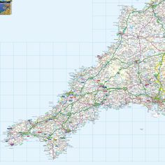 massive printable downloadable free map of Cornwall