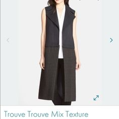 NWOT Trouve Mixed Texture Vest Brand new! Beautiful! Great quality! Long length! Size XS but would fit XS or small. Dark grey and black color. Trouve Jackets & Coats Vests