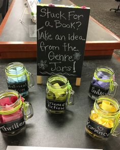 Need a new read? Come find a book suggestion in the Genre Jars at the library!