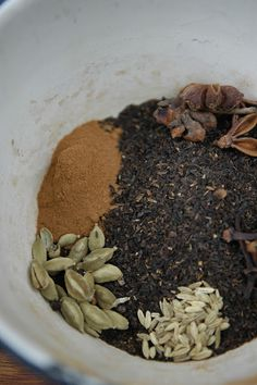 CHAI  12 tsp black loose-leaf tea  1 tsp cinnamon  12 cardamon pods, lightly smashed  1 tsp fennel seeds  4 star anise seeds  12 cloves