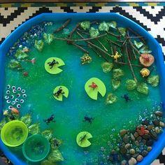 Small world pond tuff tray Small world tuff tray eyfs early years imaginative play frogspawn tadpole frogs lillypad minibeast sensory messy play Eyfs Activities, Nursery Activities, Spring Activities, Preschool Activities, Sensory Table, Sensory Bins, Sensory Play, Tuff Spot, Reggio Emilia