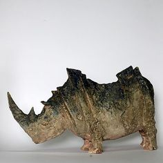 Pottery Animals, Ceramic Animals, Pottery Sculpture, Sculpture Clay, Ceramic Pottery, Pottery Art, Rhino Art, Abstract Animals, Animal Sculptures