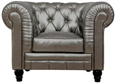 Zahara Silver Leather Club Chair $517 Comfort and style define our Zahara collection. A modern interpretation of the classic Chesterfield design, this handcrafted club chair will add style and timeless appeal to any room.
