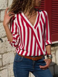 Women Striped Blouse Shirt Long Sleeve Blouse V-neck Shirts Casual Tops Blouserricdress Striped Long Sleeve Shirt, Long Sleeve Shirts, Casual Tops, Casual Shirts, Stylish Shirts, Stripes Fashion, Red And White Stripes, Mode Outfits, Pulls