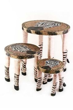Swahili Fair Trade Zebra Wooden Safari Stools A safari-themed set for both functional and decorative use. The Zebra Wooden Safari Stools are a playful blend of traditional craft and safari adventure.