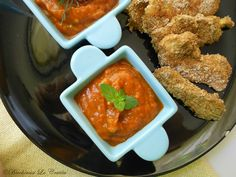 Almost Dukan Schnitzel with baked bell pepper salsa