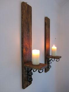 Pair reclaimed wood rustic wall sconce's with decorative black wrought iron bracket rustic candle holders Wood Candle Holders, Wrought Iron Candle, Wood Sconce, Wall Candle Holders, Wrought Iron Candle Wall Sconces, Candles, Wall Candles, Rustic Walls, Iron Candle