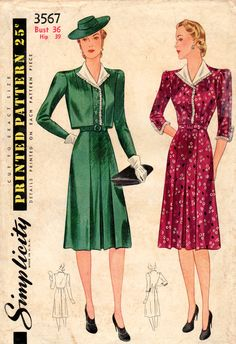 1940s Simplicity 3567 Vintage Sewing Pattern Misses Dress and Bolero Size Bust 36
