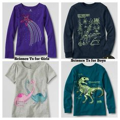 Lands' End kids science tees stereotypeing in boy's and girl's clothing