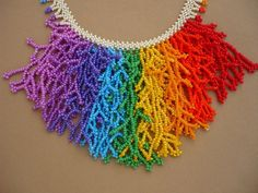 rainbow color beadwork branch seed beaded necklace beaded Beaded Statement Necklace, Seed Bead Necklace, Seed Beads, Seed Bead Patterns, Beading Patterns, Paper Bead Jewelry, Beaded Jewelry, African Beads Necklace, Bead Crochet Rope