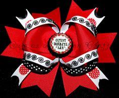 Ohio State Boutique hair bow Cutest Buckeye fan