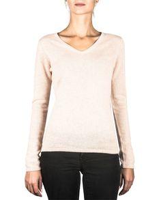 Damen Kaschmir Pullover V-Ausschnitt washed ecru front Elegant, Tops, Sweaters, Fashion, Cashmere Sweaters, Women's, Classy, Moda, Chic