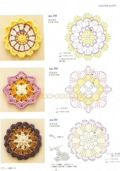 arts and craft books: motif & edging designs magazine, free crochet books - crafts ideas - crafts for kids - Crochet Motif Patterns, Crochet Blocks, Crochet Diagram, Crochet Chart, Crochet Squares, Crochet Stitches, Granny Squares, Crochet Coaster, Floral Patterns