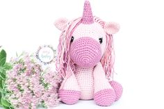 Pink unicorn stuffed animal, plush unicorn, unicorn toy, crochet unicorn, crocheted soft animal doll, amigurumi unicorn, nursery decor,  Beautiful pink unicorn, an ideal gift for girls. This stuffed unicorn is crocheted with 100% cotton wool, and the amigurumi technique. His hair is a soft rainbow color. It is a perfect toy for any child, or nursery decor.. Unicorn Stuffed Animal, Crochet Baby Toys, Crochet Unicorn, Gifts For Girls, Rainbow Colors, Nursery Decor, Plush, Teddy Bear, Child