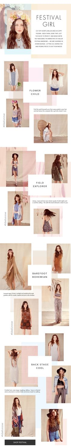 #FestivalLookbook Festival Girls, Miss Selfridge, Digital Marketing, Asos, Web Design, Chic, Template, Layout, Clothes