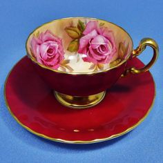 Pink Rose Aynsley Tea Cup and Saucer Deep Pink & by Thinkilikeit