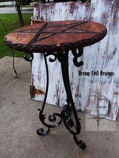 gothic table wicca church of satan baphomet pentagram wood carve tarot halloween #Gothic