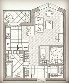 نظرتونو کامنت کنین😍❤ _ #دیزاین#دکوری_خاص_لوکس#دکوراسیون#دیزاینر #معماری #آرشیتکت#آرشیتکتور#%D Studio Floor Plans, Small Floor Plans, Small House Plans, House Floor Plans, Small Appartment, Tiny Apartments, Apartment Plans, Small Places, Small House Design
