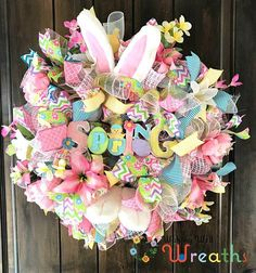 Shabby Chic XL Wreath/ Flower and Bunnies Hand Crafted Home Decor/ Seasonal Country Farmhouse Wall Hanging/ Vintage Springtime Decor