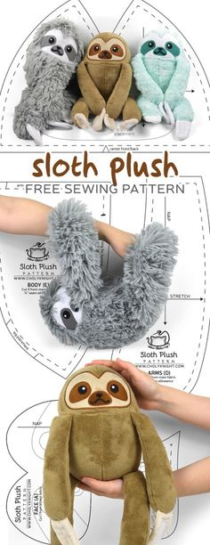 Free sewing tutorial: Make a cute and cuddly sloth plush that even hangs on its own thanks to Velcro in the claws! Free sewing tutorial: Make a cute and cuddly sloth plush that even hangs on its own thanks to Velcro in the claws! sew toy Tutorial and patt Sewing Stuffed Animals, Stuffed Animal Patterns, Stuffed Animal Diy, Sewing Patterns Free, Free Sewing, Pattern Sewing, Knitting Patterns, Animal Sewing Patterns, Knit Patterns