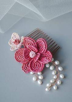 French Beaded Flowers Hair Accessories in Red and Pink in rose gold tones, perfect for Chinese Wedding. This beaded flowers bridal headpiece has made of combining the techniques of French beading and