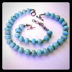 Genuine turquoise stone necklace & bracelet Handmade, authentic turquoise stones. A funky and chunky beautiful necklace and bracelet set. Jewelry Necklaces