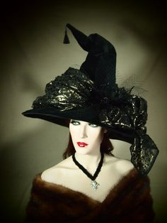 "Couture Witch Hat ""Mrs. Gold"" 21"" OOAK #millinery #judithm #hats"