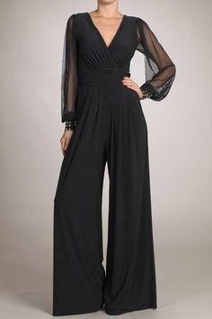 Elegant black Jumpsuit with long sheer sleeves,fits amazing! Great for evening wear, parties,etc. www.shoplavidaloca.com