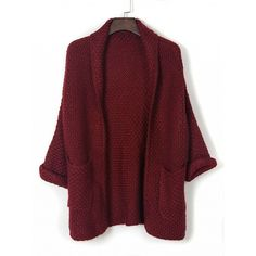 Choies Burgundy Lapel Pocket Detail Open Front Long Sleeve Knit... ($38) ❤ liked on Polyvore featuring tops, cardigans, red, knit cardigan, knit tops, long sleeve cardigan, long sleeve knit cardigan and red top