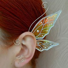 Silver Plated Butterfly Wing Ear Cuff Transparent Jewellery Rainbow No Piercing … Silver Plated Butterfly Wing Ear Cuff Transparent Jewelery Rainbow No Piercing Fairy Earrings Magic Gift Fairy Jewelry, Fantasy Jewelry, Cute Jewelry, Skull Jewelry, Hippie Jewelry, Elf Ear Cuff, Ear Cuffs, Elvish Wedding, Wedding Rings