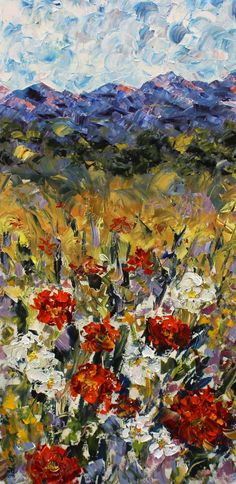 """Landscape Artists International: Palette Knife Floral Landscape Painting """"Spring in the Rockies"""" by Colorado Impressionist Judith Babcock"""