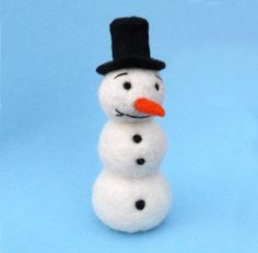 Snowman in a Top Hat Needle Felted Figure by MischiefsManifold - Ready to ship - £8.00