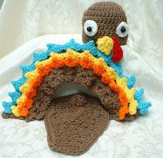 Tiny Turkey Photo Prop  crocheted by QTPatootieKids on Etsy, $40.00