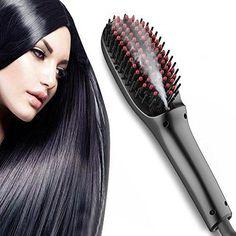 UKLISS Anion Steam Hair Straightener Brush with SpayNew Generation PTC Ceramic Faster Heating Hair Styling Comb Anti-Scald Massage Straightening Irons Black