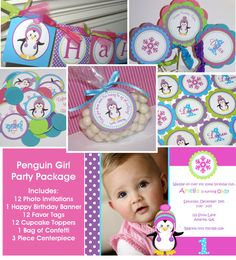 Penguin Girl Birthday Party Package - Invitations, banner, cupcake toppers, favor tags, confetti & centerpiece by The Party Paper Fairy