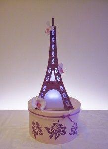 Urne de mariage thème Paris, tour Eiffel mauve e-copie-1
