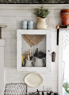 DIY Repurposed Wooden Crate into Primitive Rustic Farmhouse Cupboard Cabinet via Knick of Time Primitive Cabinets, Farmhouse Cabinets, Primitive Kitchen, Farmhouse Kitchen Decor, Farmhouse Style, Rustic Farmhouse, Farmhouse Design, Rustic Cafe, Rustic Cottage