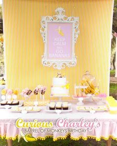 Curious George Party in pink and yellow