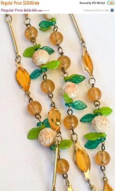 Green with Amber Lucite Flapper Necklace Art Deco by OurBoudoir