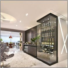 Adega Moderna com Display de Vidro de Tetriz Arquitetura e Interiores - 156479 no Viva Decora Living Room Designs, Living Room Decor, Living Area, Home Wine Cellars, Wine Cellar Design, Trendy Home, Bars For Home, Home Interior Design, Bar Interior