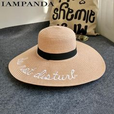 8f4ce432 Item Type: Sun Hats Gender: Women Pattern Type: Letter Material: Straw  Department Name: Adult Model Number: IAP-055 Brand Name: IAMPANDA Style:  Casual strap ...