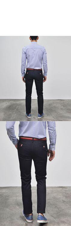 Bottoms :: Slim Spandex Indigo Denim Slacks-Jeans 96 - Mens Fashion Clothing For An Attractive Guy Look